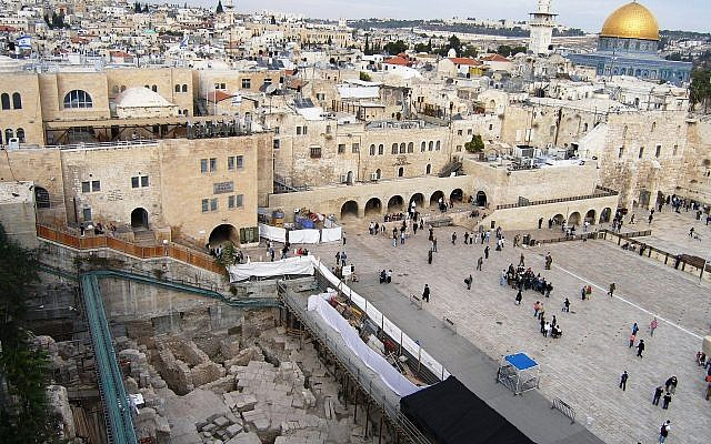 The IAA excavations in Jerusalem's Western Wall plaza, where the First Temple period sealing, bearing the inscription 'Belonging to the Governor of the City' was uncovered, and published in December 2017. (Shlomit Weksler-Bdolah)