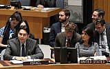 Israel's Ambassador to the UN Danny Danon addresses the Security Council on January 25, 2018. (UN Photo/Evan Schneider)