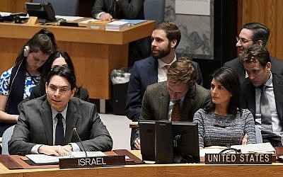 Israel's Ambassador to the UN Danny Danon addresses the Security Council on January 25, 2018. (UN Photo/Evan Schneider)