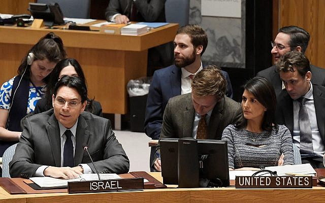 Israel's Ambassador to the UN Danny Danon addresses the Security Council on January 25, 2018; US Ambassador Nikki Haley is to his left. (UN Photo/Evan Schneider)
