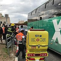 Magen David Adom medics arrive at the scene where a bus hit and killed a 6-year-old boy in Beit Shemesh. (MDA)