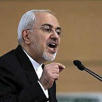 Iran's foreign minister Mohammad Javad Zarif speaks during the Tehran Security Conference in Tehran, Iran, January 8, 2018. (Ebrahim Noroozi/AP)