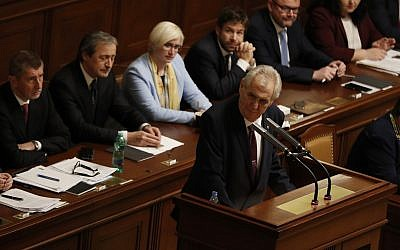 Czech Republic's President Milos Zeman holds a speech during a Parliament session in Prague, Czech Republic, Wednesday, Jan. 10, 2018. (AP/Petr David Josek)