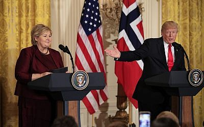 In this January 10, 2018 photo, US President Donald Trump speaks during a joint news conference with Norwegian Prime Minister Erna Solberg in the East Room of the White House in Washington. (AP Photo/Manuel Balce Ceneta)