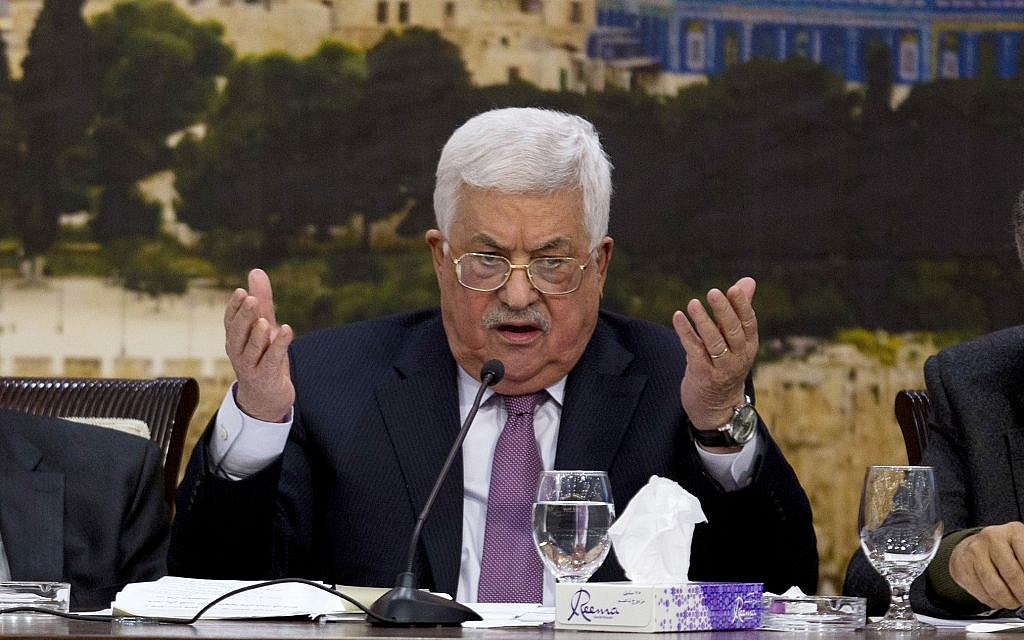Palestinian Authority President Mahmoud Abbas, speaks during a meeting with the Palestinian Central Council, a top decision-making body, at his headquarters in the West Bank city of Ramallah, January 14, 2018. (AP Photo/Majdi Mohammed)