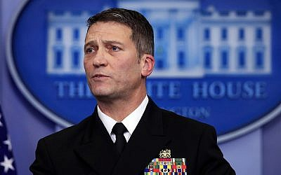 White House physician Dr. Ronny Jackson speaks to reporters during the daily press briefing in the Brady press briefing room at the White House, Washington, January 16, 2018. (AP Photo/Manuel Balce Ceneta)