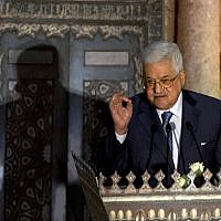 Palestinian Authority President Mahmoud Abbas speaks during a conference on Jerusalem at the Al-Azhar Conference Center, in Cairo, Egypt, Wednesday, January. 17, 2018 (AP Photo/Amr Nabil)