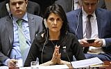 US Ambassador to the UN Nikki Haley listens during a Security Council meeting on non-proliferation of weapons of mass destruction, January 18, 2018. (AP Photo/Bebeto Matthews)
