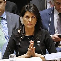 US Ambassador to the UN Nikki Haley listens during a Security Council meeting on non-proliferation of weapons of mass destruction, January 18, 2018. (AP Photo/Bebeto Matthews)