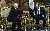 US Vice President Mike Pence shakes hands with Egyptian President Abdel-Fattah el-Sissi, right, at the Presidential Palace in Cairo, Egypt, Saturday, Jan. 20, 2018. (Khaled Desouki/Pool Photo via AP)