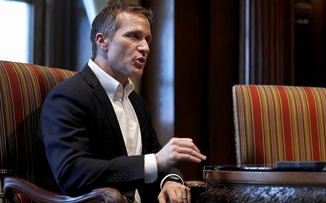 Missouri Governor Eric Greitens speaks during an interview in his office at the Missouri Capitol in Jefferson City on January 20, 2018. (AP Photo/Jeff Roberson)