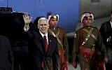 US Vice President Mike Pence disembarks from his plane upon his arrival at Amman military airport, Jordan, Saturday, Jan 20, 2018. (AP Photo/Raad Adayleh)