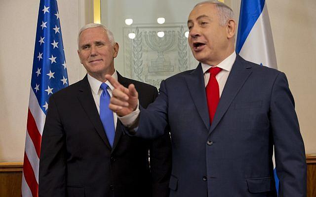 US Vice President Mike Pence meets with Israel's Prime Minister Benjamin Netanyahu in Jerusalem, Monday, Jan. 22, 2018. (AP Photo/Ariel Schalit, Pool)