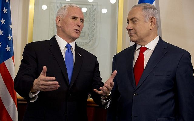 US Vice President Mike Pence meets with Israel's Prime Minister Benjamin Netanyahu in Jerusalem, Monday, Jan. 22, 2018. (AP Photo/Ariel Schalit, Pool)