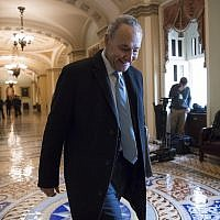 Senate Minority Leader Chuck Schumer arrives at the Capitol at the start of the third day of the government shutdown, in Washington on January 22, 2018. (AP Photo/J. Scott Applewhite)