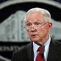 In this file photo from December 15, 2017, United States Attorney General Jeff Sessions speaks during a news conference at the Justice Department in Washington. (AP Photo/Carolyn Kaster, File)