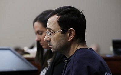 Larry Nassar, during the seventh day of his sentencing hearing, in Lansing, Michigan, January 24, 2018. (Carlos Osorio/AP)