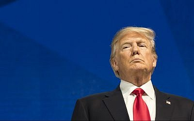 US President Donald Trump, addresses a plenary session during the annual meeting of the World Economic Forum, WEF, in Davos, Switzerland on Jan. 26, 2018. (Laurent Gillieron/Keystone via AP)