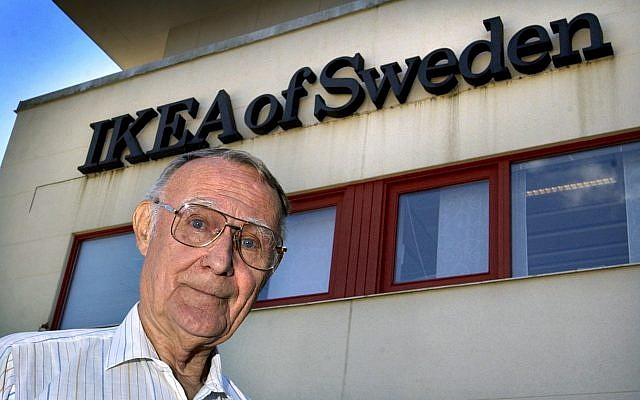 In this Aug. 6, 2002 file photo, Ingvar Kamprad, founder of Swedish multinational furniture retailer IKEA, stands outside the company's head office in Almhult, Sweden. (Claudio Bresciani/TT via AP)