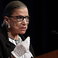 US Supreme Court Justice Ruth Bader Ginsburg, speaking at the Georgetown University Law Center campus in Washington, DC, on September 20, 2017. (AP Photo/Carolyn Kaster, file)
