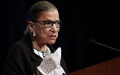 This photo from September 20, 2017, shows US Supreme Court Justice Ruth Bader Ginsburg speaking at the Georgetown University Law Center campus in Washington. (AP Photo/Carolyn Kaster, file)