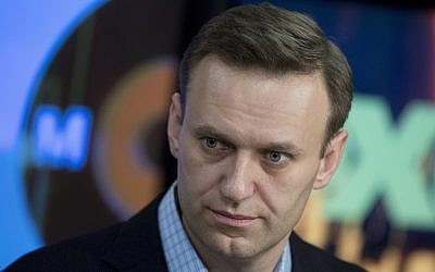 Russian opposition activist Alexei Navalny at the Echo Moskvy (Echo of Moscow) radio station in Moscow, Russia, December 27, 2017. (Pavel Golovkin/AP)