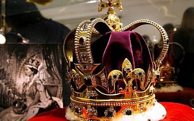 A replica of the Coronation Crown, a part of the Crown Jewels comprising the Coronation Crown, Orb and Sceptre offered at auction on Tuesday, March 13, 2012. Replicas of the Crown Jewels were made around the time of Queen Elizabeth's Coronation in order to travel and to be shown to the Commonwealth countries. (AP Photo/Brynjar Gauti)