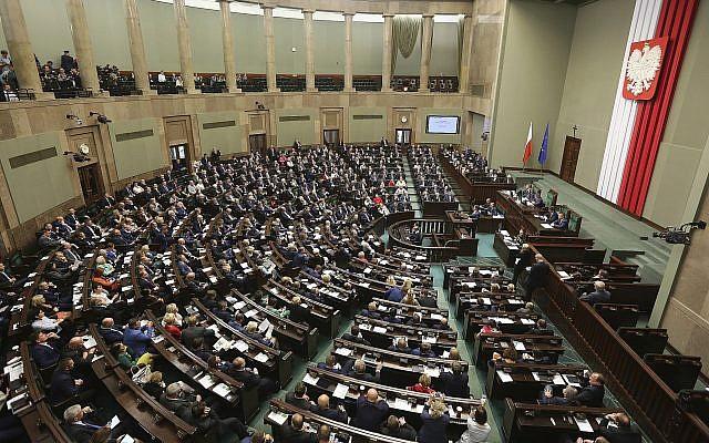 Illustrative photo of the Polish parliament October 6, 2016. (Czarek Sokolowski/AP)