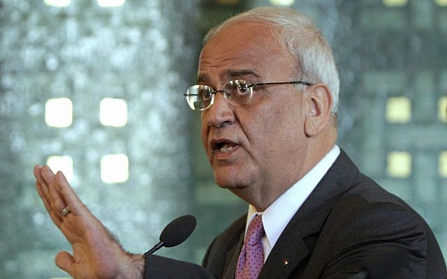 Chief Palestinian negotiator Saeb Erekat talks during a press conference with Arab League Secretary General Nabil al-Arabi, not pictured, at the Arab League headquarters in Cairo, Egypt, October 2, 2011. (Amr Nabil/AP)