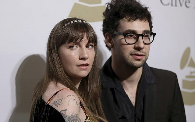 Lena Dunhamand Jack Antonoff attend the Clive Davis and The Recording Academy Pre-Grammy Gala at The Beverly Hilton Hotel on Feb. 11, 2017 (Photo by Rich Fury/Invision/AP)