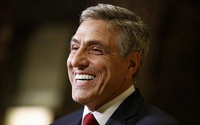 In this Nov. 29, 2016 file photo, Rep. Lou Barletta talks with reporters after a meeting with then President-elect Donald Trump at Trump Tower in New York. (AP Photo/Evan Vucci, FILE)