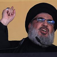 In this October 24, 2015 file photo, Hezbollah leader Hassan Nasrallah addresses a crowd in a southern suburb of Beirut, Lebanon. (AP Photo/Hassan Ammar, File)