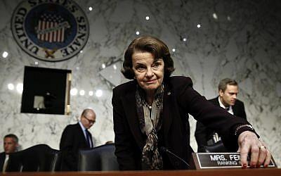 Democratic Senator Dianne Feinstein at a Senate Judiciary Committee hearing on Capitol Hill in Washington, December 6, 2017. (AP Photo/Carolyn Kaster)