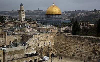 A view of the Western Wall and the Dome of the Rock, some of the holiest sites for for Jews and Muslims, is seen in Jerusalem's Old City, December 6, 2017 (AP Photo/Oded Balilty)