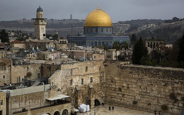 A view of the Western Wall and the Dome of the Rock, some of the holiest sites for for Jews and Muslims, is seen in Jerusalem's Old City, Wednesday, December 6, 2017 (AP Photo/Oded Balilty)