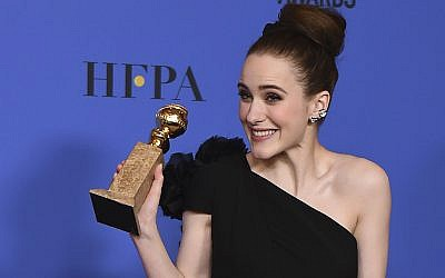 "Rachel Brosnahan won for best actress in a television series - musical or comedy for ""The Marvelous Mrs. Maisel"" at the 75th annual Golden Globe Awards, January 8, 2018. (Jordan Strauss/Invision/AP)"