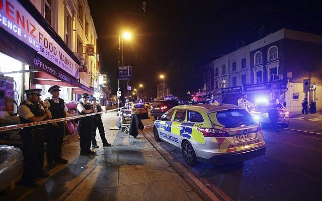 A police cordon at the site of a ramming attack near Finsbury Park Mosque in north London, June 19, 2017 (Yui Mok/PA, File via AP)