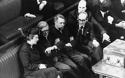 The Conservative government front bench sit in the House of Commons in London, April 11, 1981. Left to right are then-Prime Minister Margaret Thatcher, Chancellor of the Exchequer Sir Geoffrey Howe, Education Secretary Sir Keith Joseph, Defense Secretary John Nott, and Employment Secretary Norman Tebbit. (AP Photo/BIPHA/Central Press Photos)