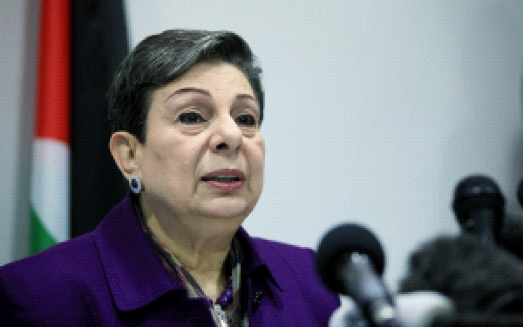 Member of the Executive Committee of the PLO Hanan Ashrawi, speaking at a press conference on February 24, 2015 in Ramallah. (WAFA)
