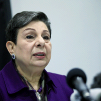 PLO Executive Committee member Hanan Ashrawi speaks at a press conference in Ramallah on February 24, 2015. (WAFA)