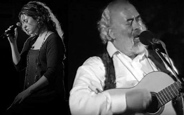 Montage of Neshama Carlebach (Courtesy) and Shlomo Carlebach (YouTube screenshot)