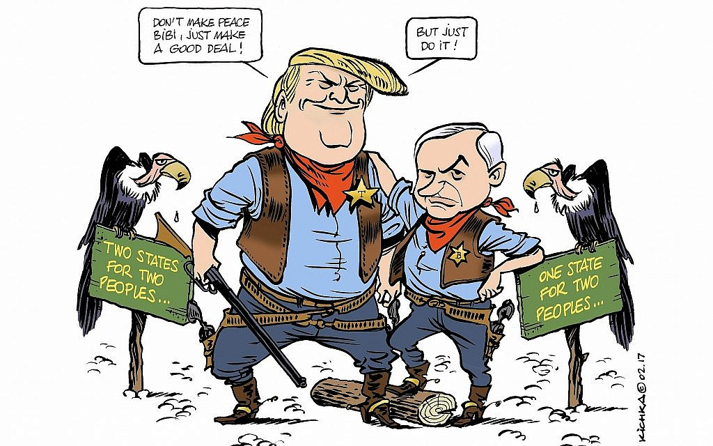 This Michel Kichka cartoon casts President Donald Trump and Israeli Prime Minister Benjamin Netanyahu as the new sheriffs in town. (via JTA)