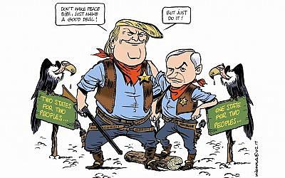 This Michel Kichka cartoon casts President Donald Trump and Israeli Prime Minister Benjamin Netanyahu as the new sheriffs in town. (via JTA)
