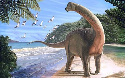 An artist's reconstruction of the newly discovered dinosaur Mansourasaurus shahinae on a coastline in what is now the Western Desert of Egypt. (Andrew McAfee/Carnegie Museum of Natural History)