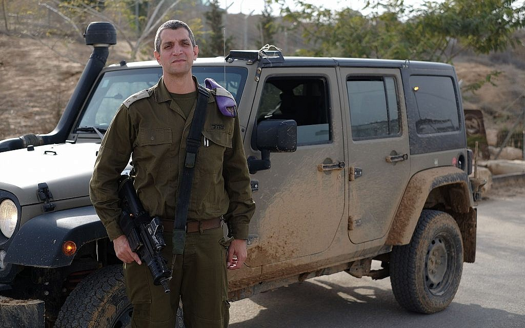 Lt. Col. Liron Aroch, head of the IDF's Southern Command Training Base, during a tour of the facility on January 10, 2018. (Judah Ari Gross/Times of Israel)