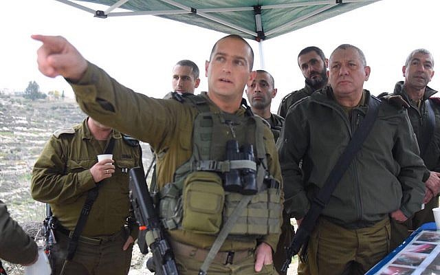 IDF Chief of Staff Gadi Eisenkot, right, and other senior officers from the army's Central Command visit the area where a terror attack took place the night before on January 10, 2018. (Israel Defense Forces)