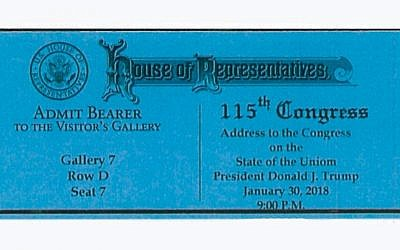 A ticket inviting US congressmen to President Donald Trump's 'State of the Uniom' speech, January 30, 2018. (Courtesy)