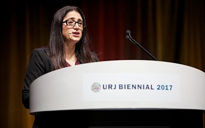 Dr. Mona Hanna-Attisha speaking at the Union of Reform Judaism Biennial on December 7, 2017 in Boston, Massachusetts. (Courtesy URJ)