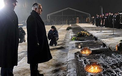 Prime Minister Benjamin Netanyahu lays a wreath at a memorial ceremony marking the 65th anniversary of the liberation of the Auschwitz camp and to honor the victims of the Holocaust, in Auschwitz Birkenau, Poland, on International Holocaust Memorial Day. January 27, 2010. (Avi Ohayon/GPO/Flash90)