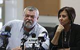Meretz head Zahava Galon and Meretz MK Ilan Gilon during a party meeting at the Knesset on November 25, 2013. (Yonatan Sindel/Flash90)